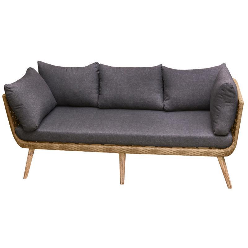 Canapé d'extérieur 3 places en Corde beige/Bois - BIAK