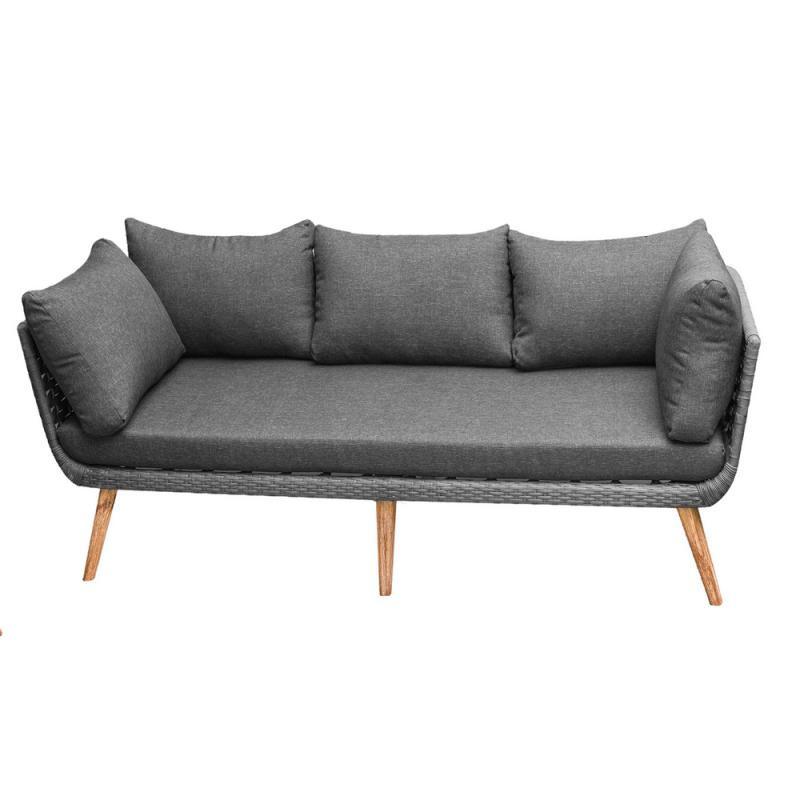 Canapé d'extérieur 3 places en Corde grise/Bois - BIAK
