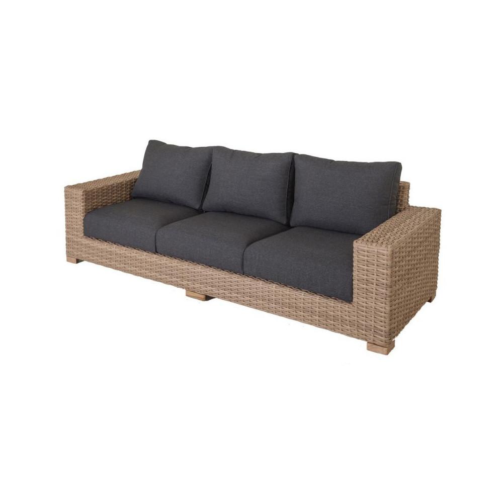 Canapé 3 places d'extérieur Rotin coussins gris - Univers Jardin : Tousmesmeubles