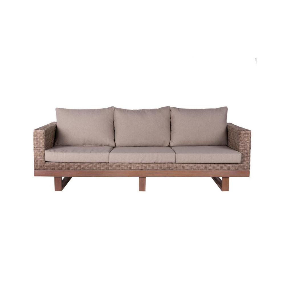 Canapé d'extérieur 3 places Bois d'acacia/Rotin beige - Univers Jardin : Tousmesmeuble