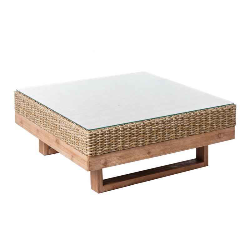Table basse d'extérieur Bois d'acacia/Rotin - RINCA