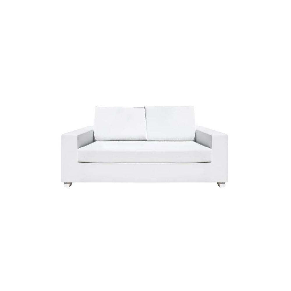 Canapé d'extérieur 2 places Textilène Blanc BELITUNG - Univers Jardin : Tousmesmeubles