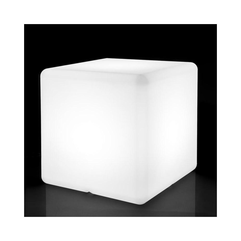 Lampe cubique Résine blanche taille M - BASENJI