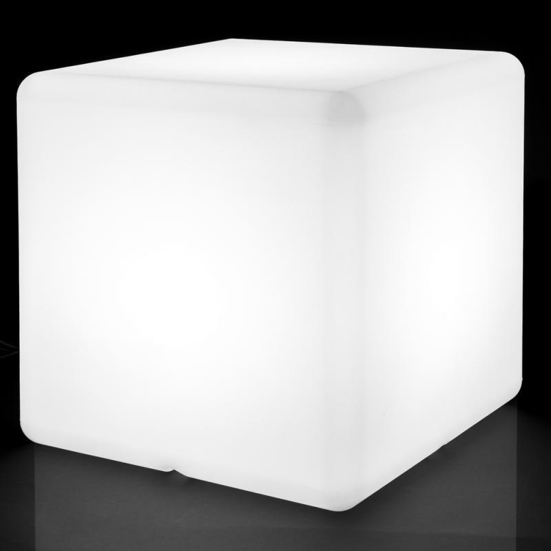 Lampe cubique Résine blanche taille L - BASENJI