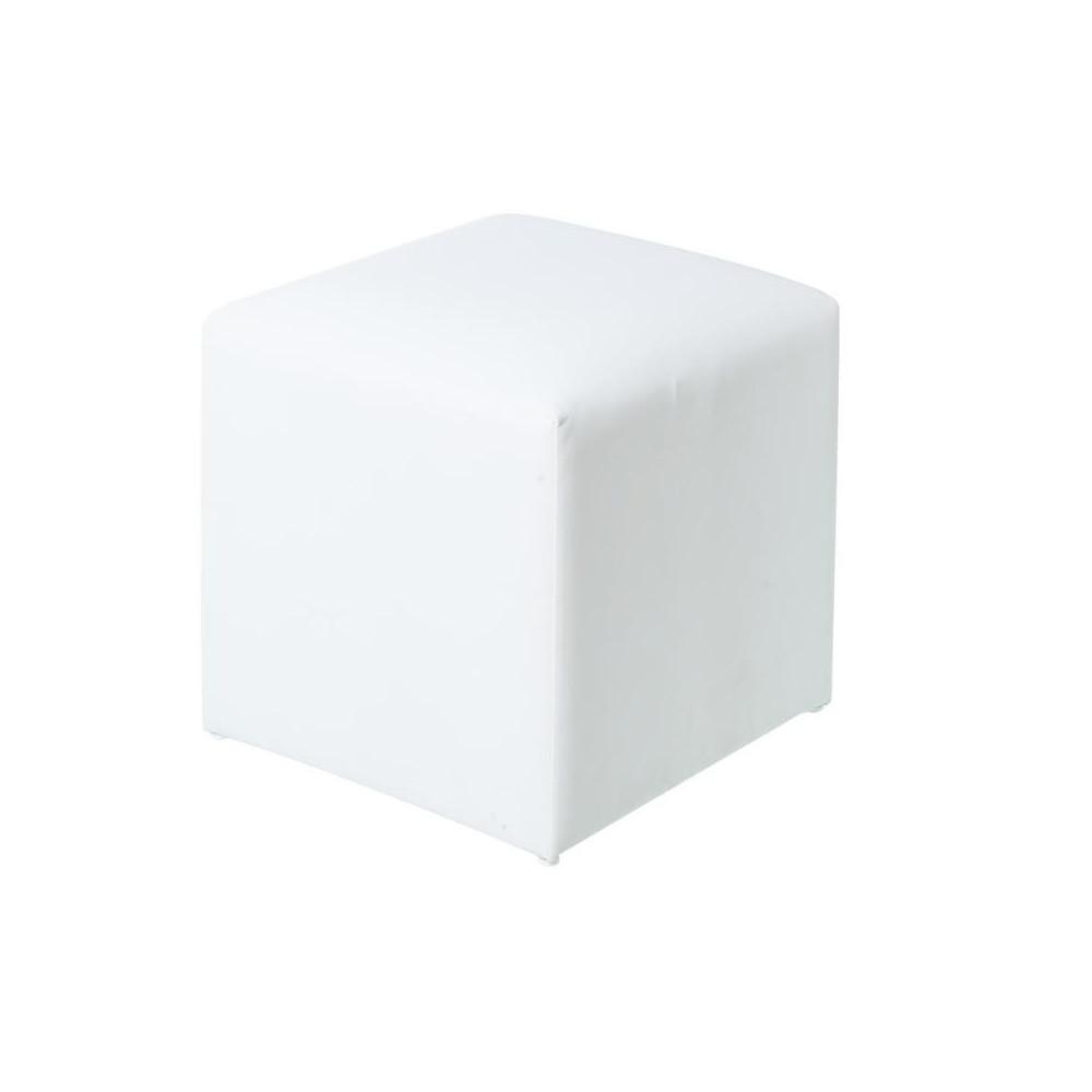 Pouf d'extérieur Textilène Blanc BELITUNG - Univers Jardin : Tousmesmeubles