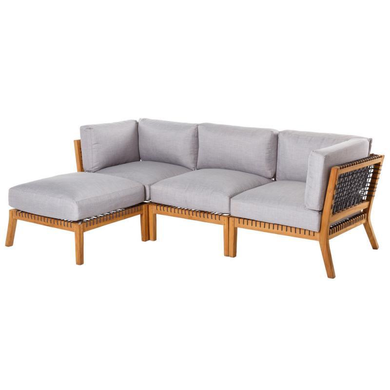 Canapé d'extérieur avec méridienne Teck/Corde - BIAK n°1