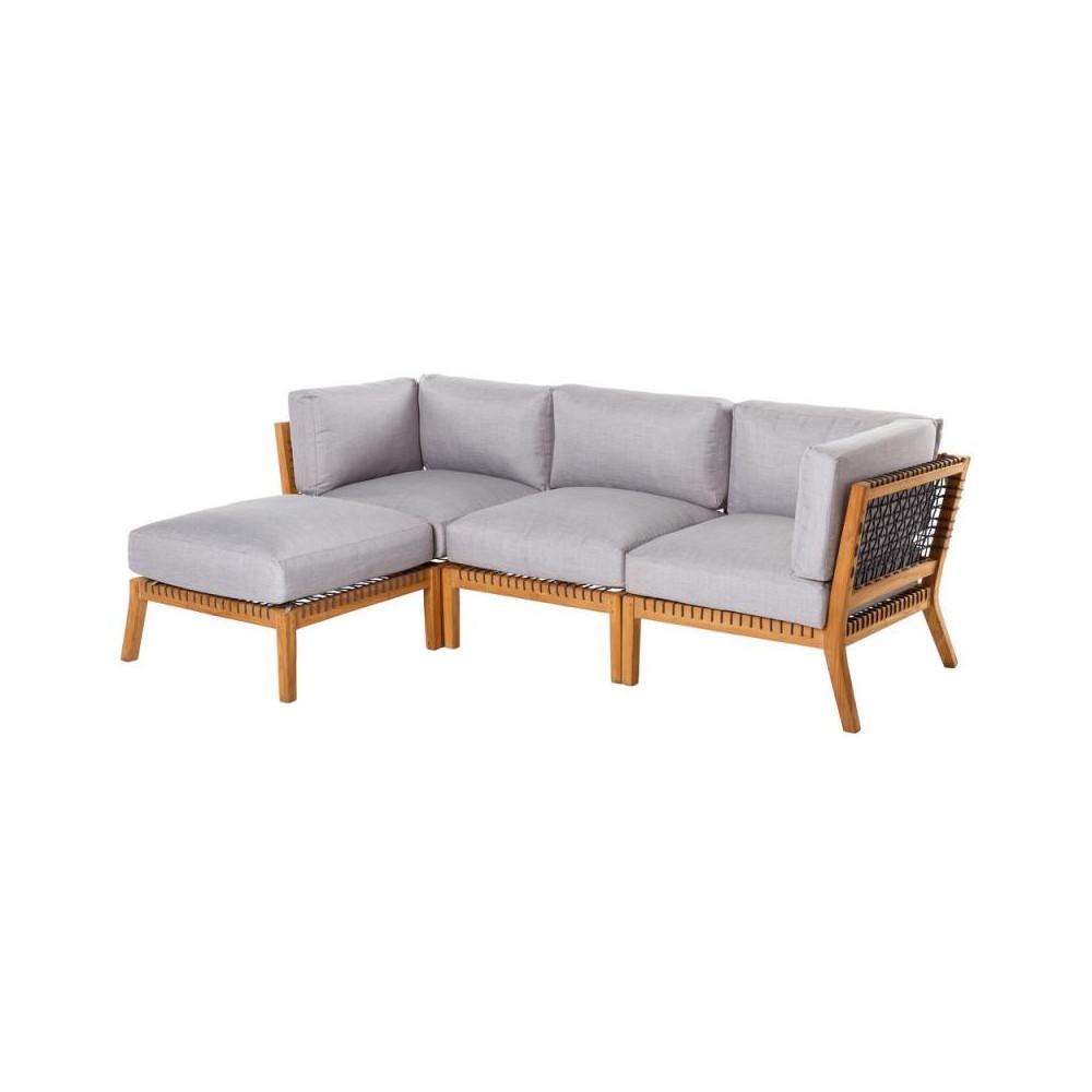 Canapé d\'extérieur avec méridienne Teck/Corde BIAK n°1 ...