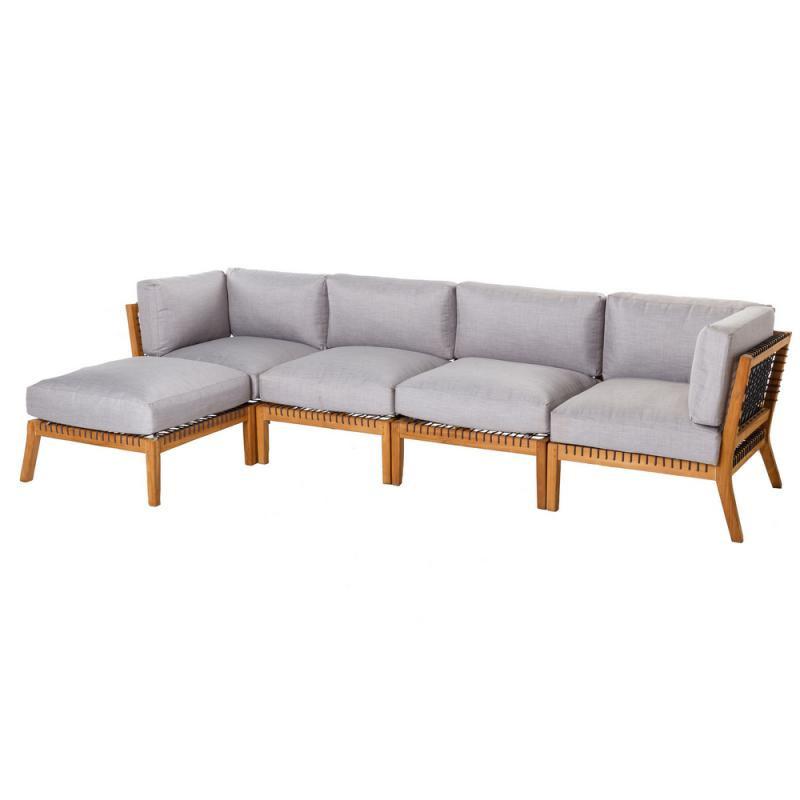 Canapé d'extérieur avec méridienne Teck/Corde - BIAK n°2
