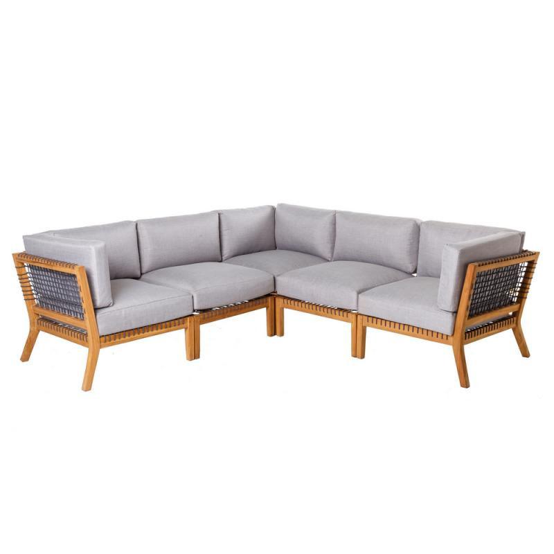 Canapé d'angle d'extérieur Teck/Corde - BIAK