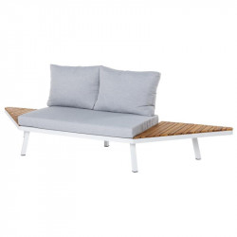 Canapé d'extérieur 2 places Bois/Aluminium blanc - SOLOR
