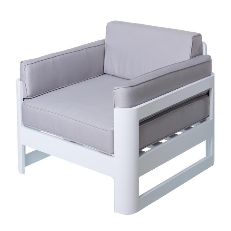 Fauteuil Aluminium Blanc/Gris - NUKU