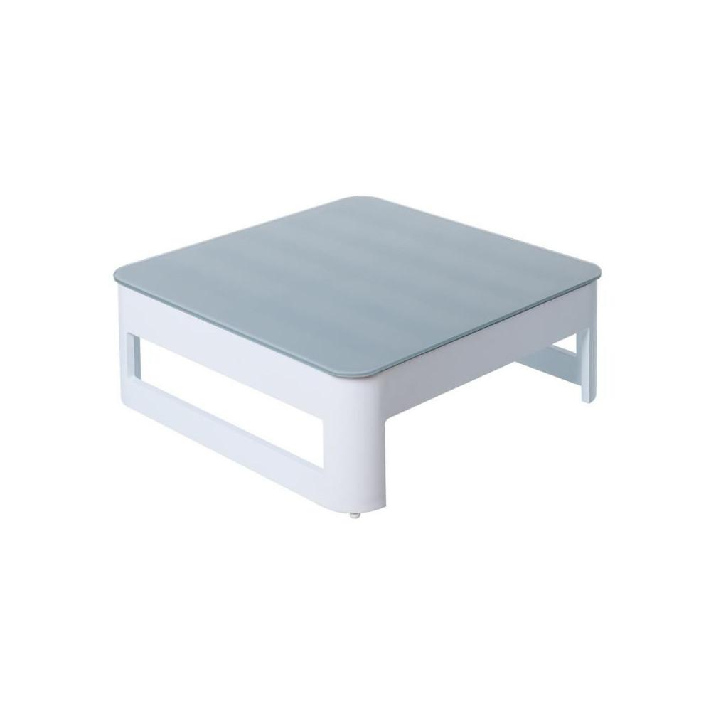 Table basse d'extérieur Aluminium Blanc/Gris - Univers Jardin : Tousmesmeubles