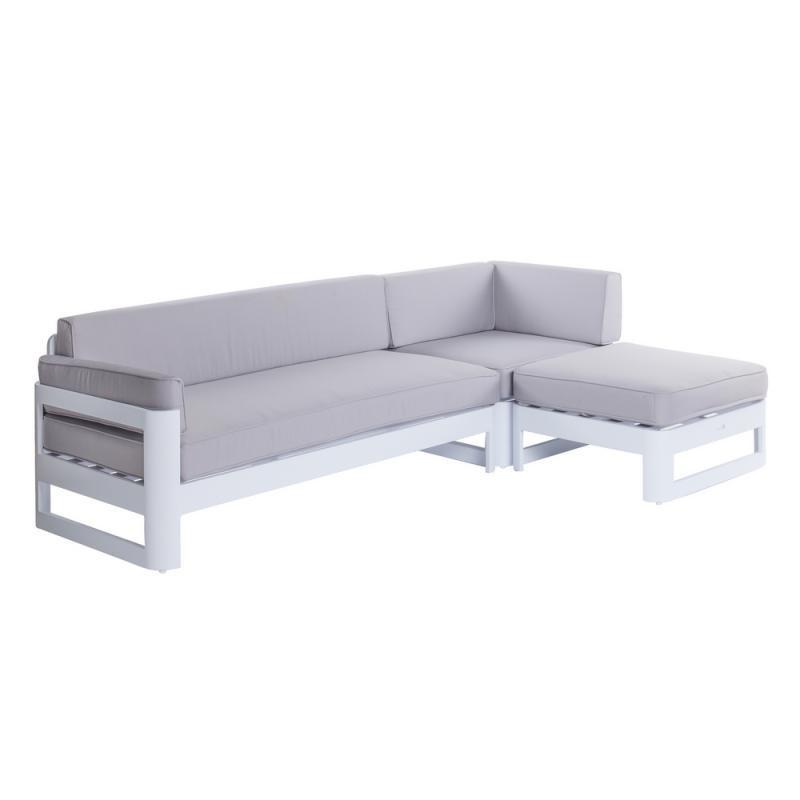 Canapé d'extérieur avec méridienne Aluminium Blanc/Gris