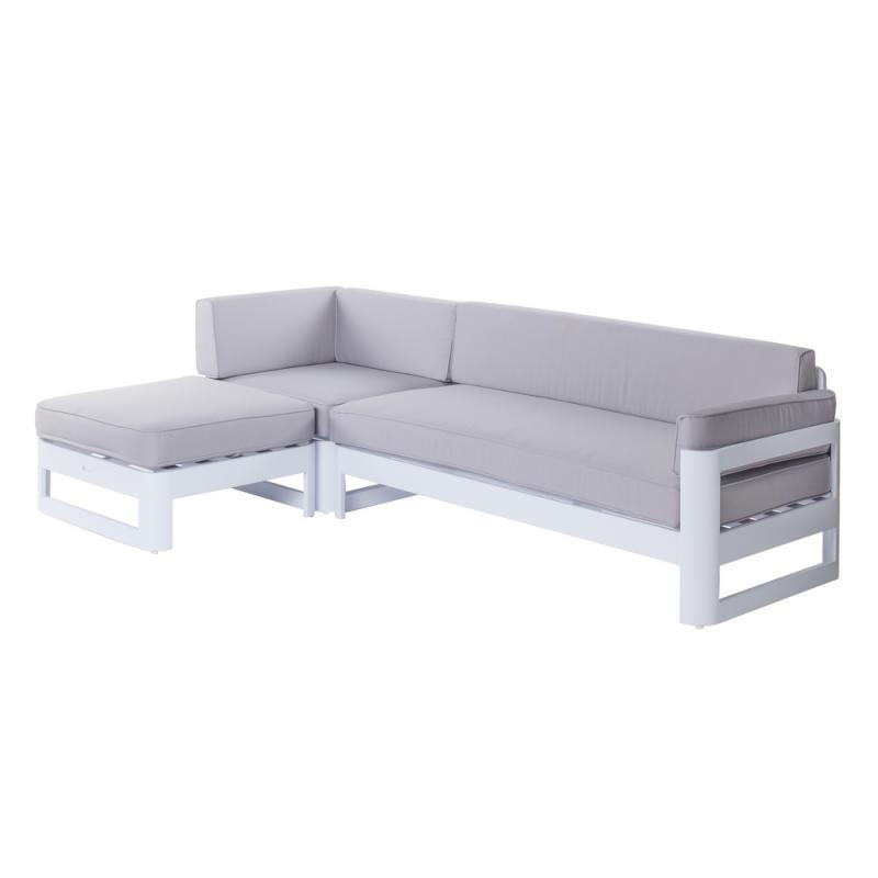 Canapé d'extérieur avec méridienne Aluminium Blanc/Gris - Univers Jardin : Tousmesmeubles