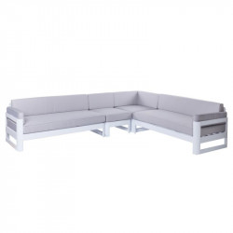 Canapé d'angle d'extérieur Aluminium Blanc/Gris - Univers Jardin : Tousmesmeubles