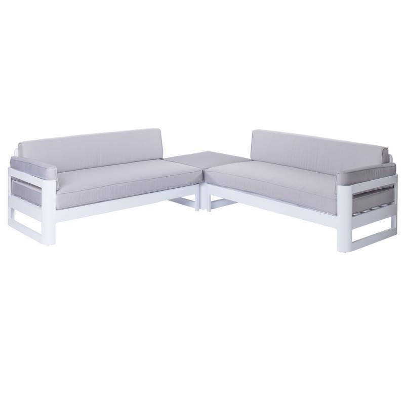 Salon complet d'extérieur Aluminium Blanc/Gris - Univers Jardin : Tousmesmeubles