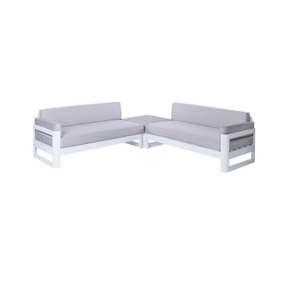 Salon complet d\'extérieur Aluminium Blanc/Gris NUKU ...
