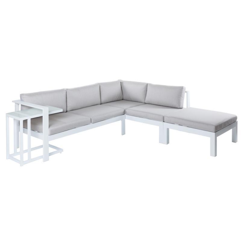 Canapé d'angle d'extérieur Aluminium Blanc/Gris - ATIHEU