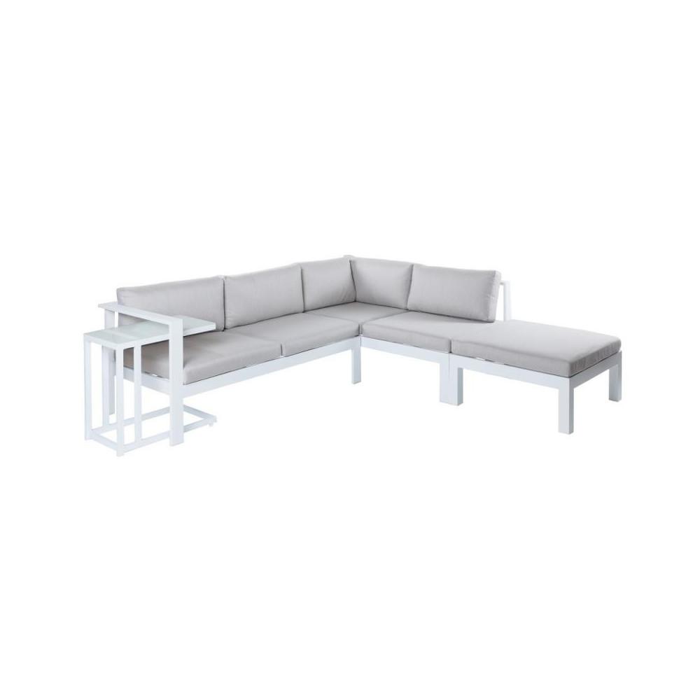 Canapé d\'angle extérieur Aluminium Blanc/Gris ATIHEU - Univers Jardin