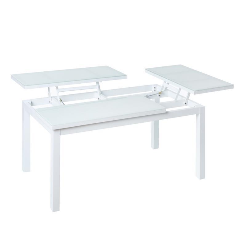 Table basse relevable d'extérieur Aluminium/Verre Blanc - ATIHEU