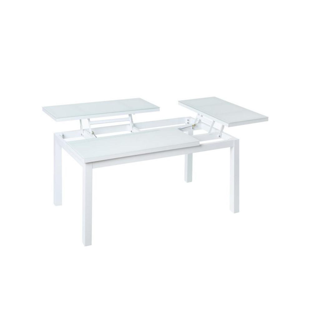 Table basse relevable d'extérieur Aluminium/Verre Blanc - Univers Jardin : Tousmesmeubles