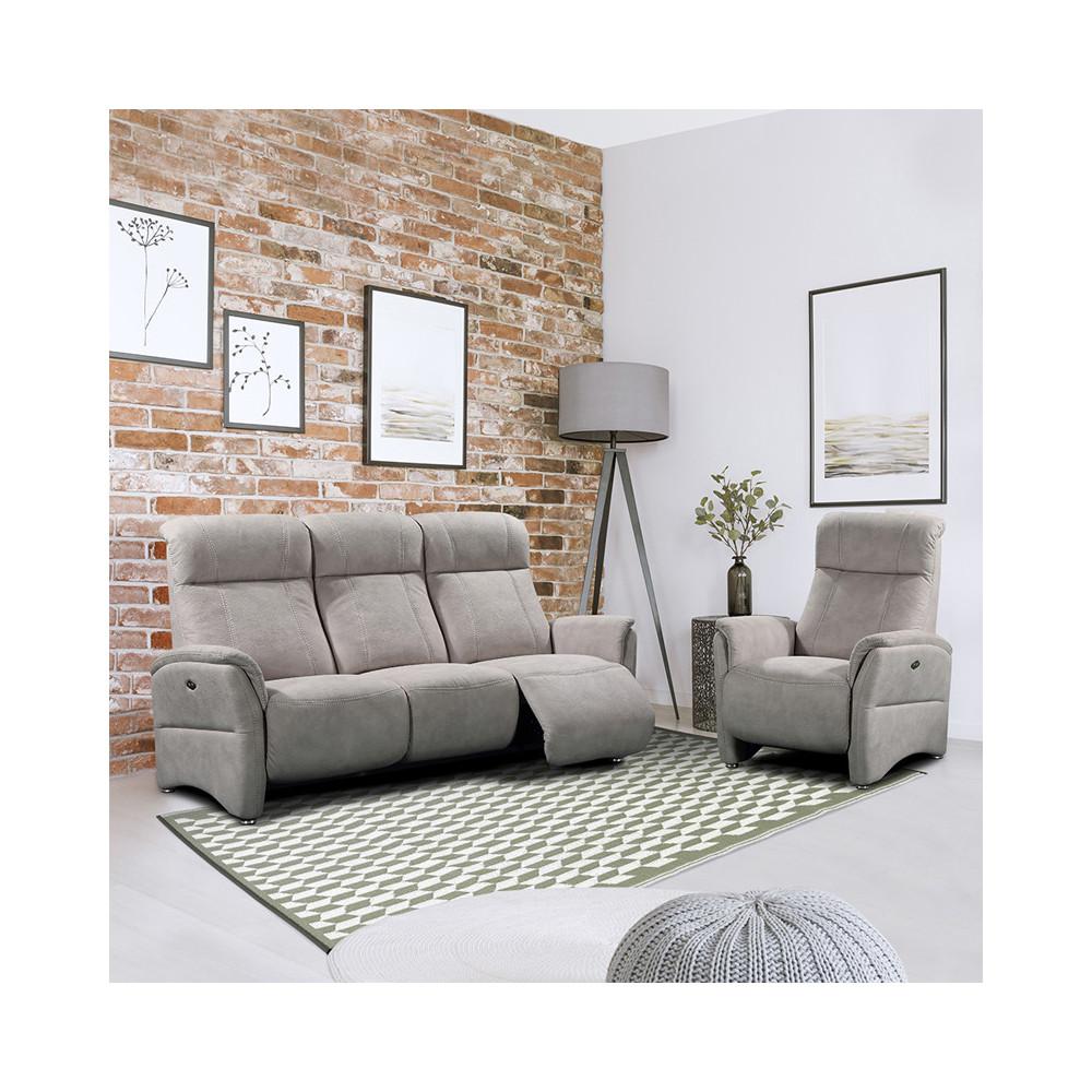 Canapé 3 places + Fauteuil Relax électriques Mastic - DIANE