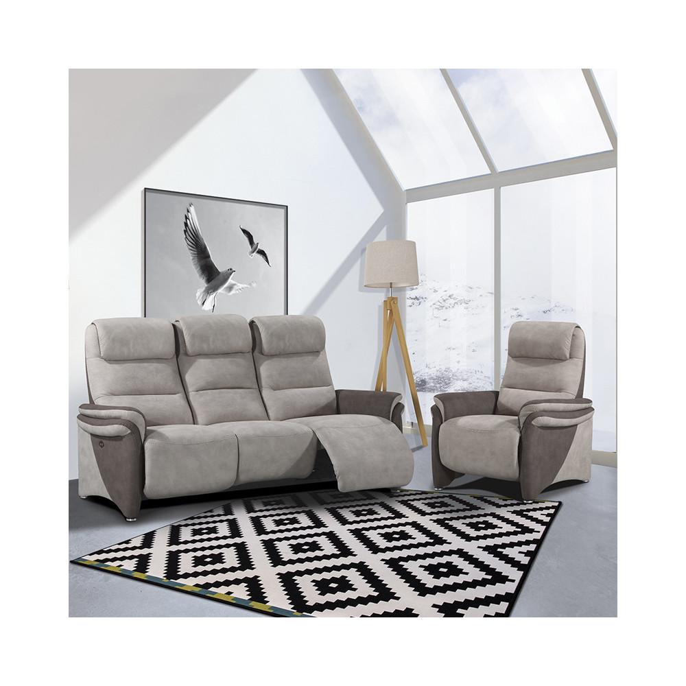 Canapé 3 places + Fauteuil relax électriques Brun/Mastic - ZENIA