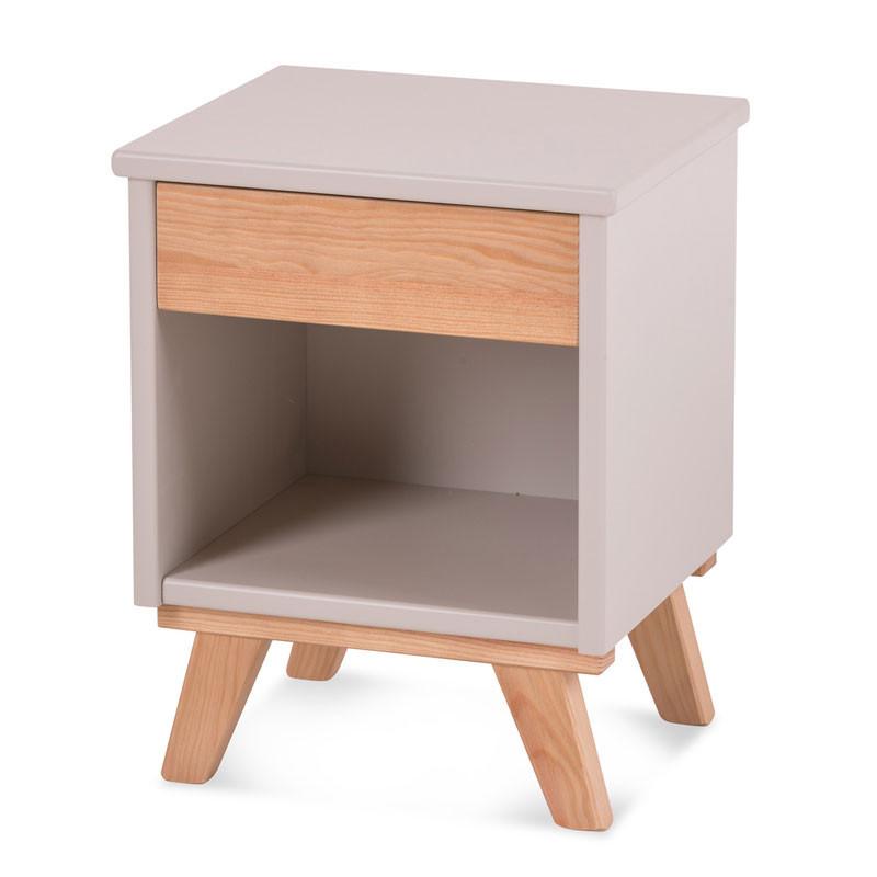 Table de chevet 1 tiroir Bois massif Lin - COSETTE
