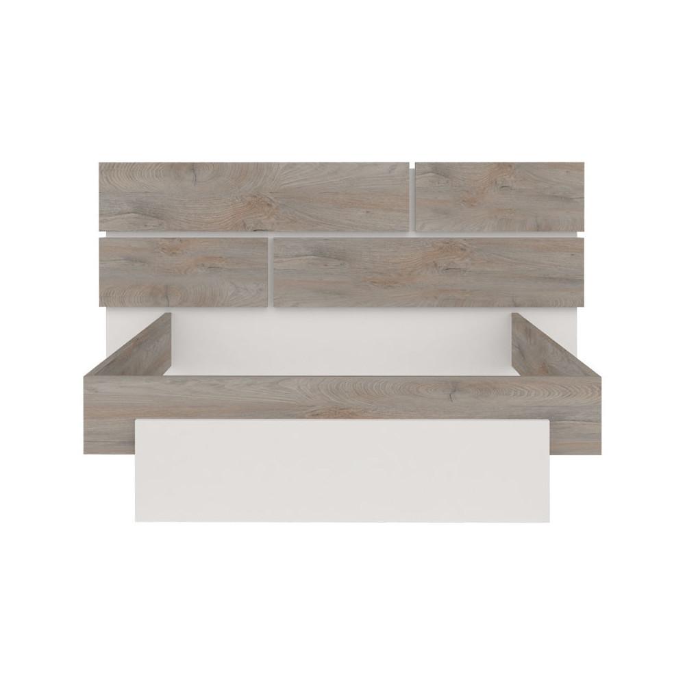 Cadre + Tête de lit 180*200 Chêne délavé/Blanc mat - FLORINE
