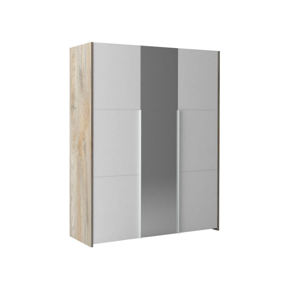 Armoire 3 portes battantes Chêne délavé/Blanc mat - FLORINE
