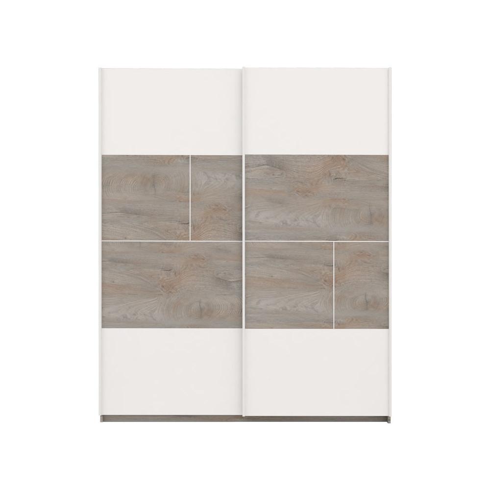 Armoire 2 portes coulissantes Chêne délavé/Blanc mat - FLORINE