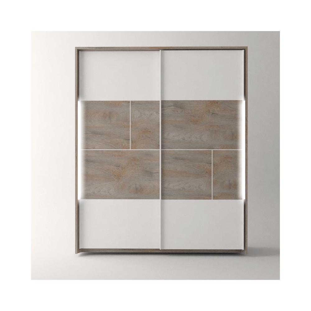 Armoire 2 portes coulissantes à LEDs Chêne délavé/Blanc mat - FLORINE