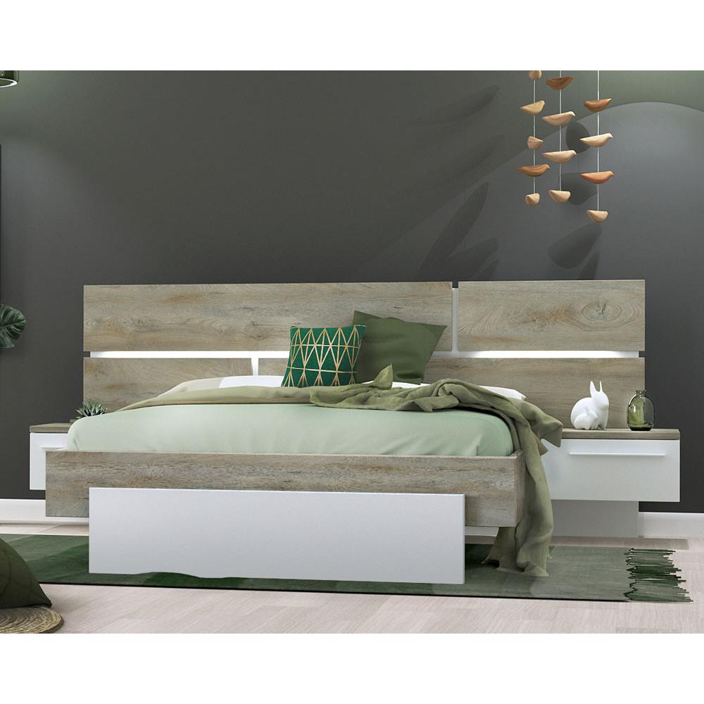 Cadre + Tête de lit 160*200 + chevets Chêne délavé/Blanc mat - FLORINE