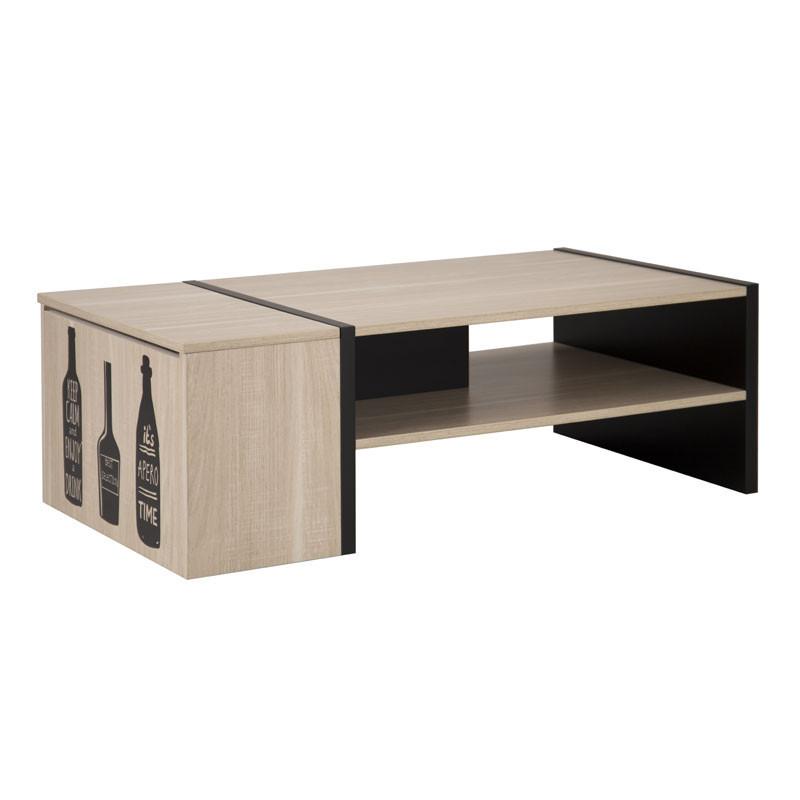 Table basse avec coffre Bois clair/Noir - BRENDA
