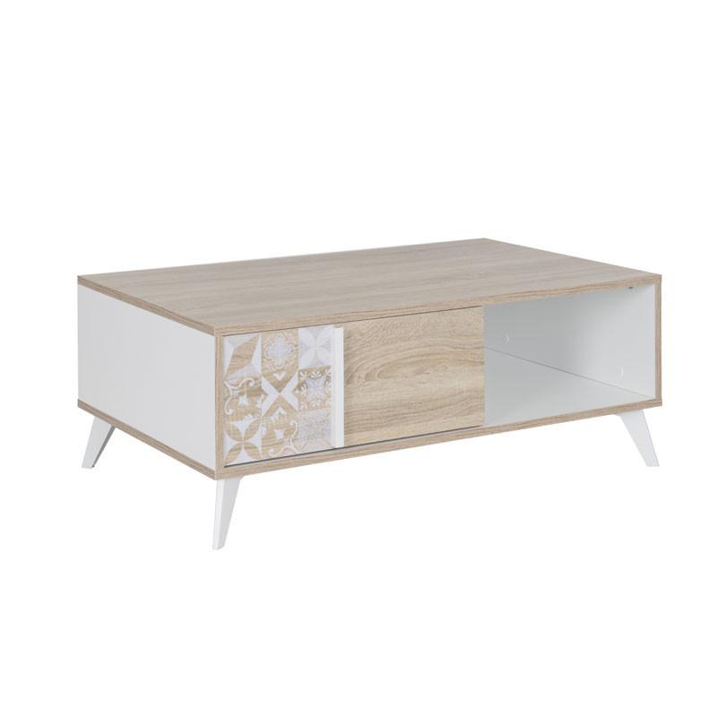 Table basse 1 tiroir Bois clair/Blanc - ETHAN