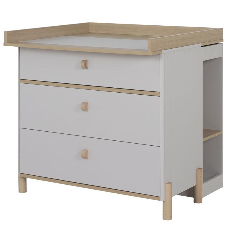 Table à langer 3 tiroirs Bois/Gris clair - TRESOR