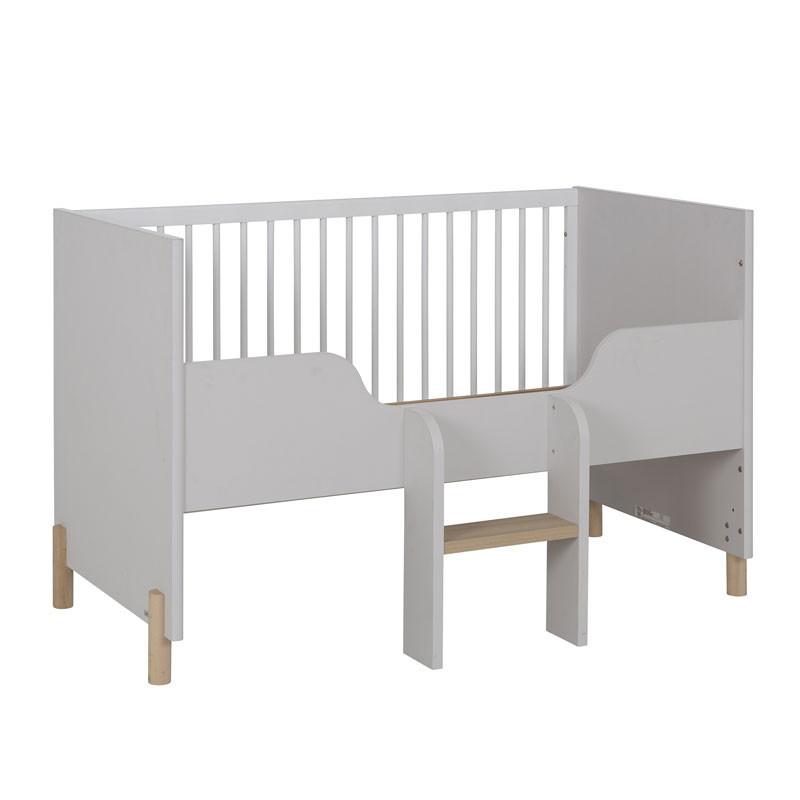 Lit bébé évolutif Bois/Gris clair/Blanc - TRESOR