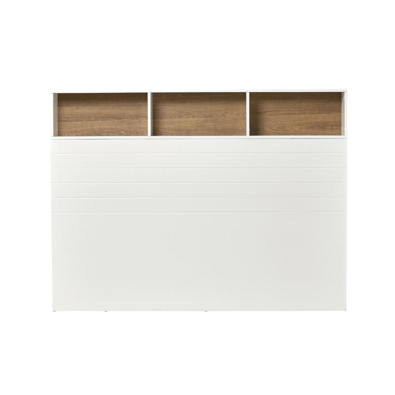 Tête de lit aménagée Bois Blanc 165 cm moderne - Univers Chambre : Tousmesmeubles