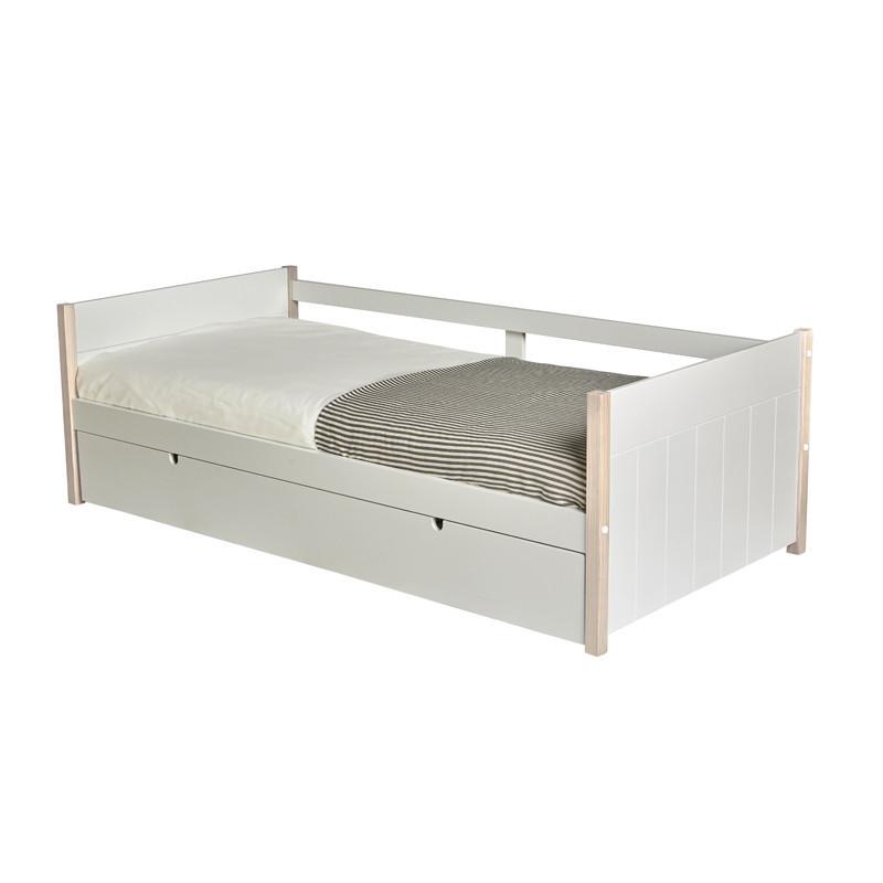 Lit gigogne couchage Blanc/Bois 90*190 cm bord de mer - Univers Chambre : Tousmesmeubles