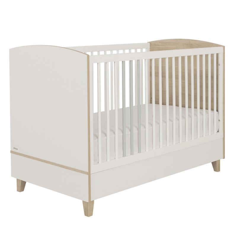 Lit bébé évolutif Blanc/Bois - NOURS