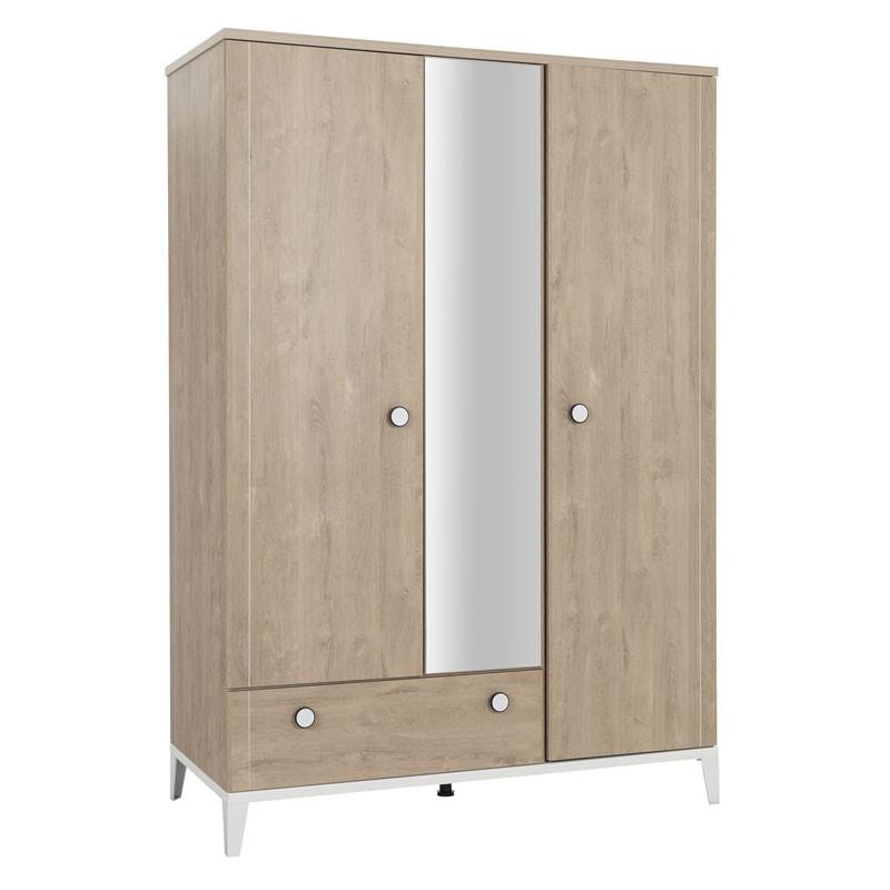 Armoire 3 portes 1 tiroir Chêne blond - DROPA