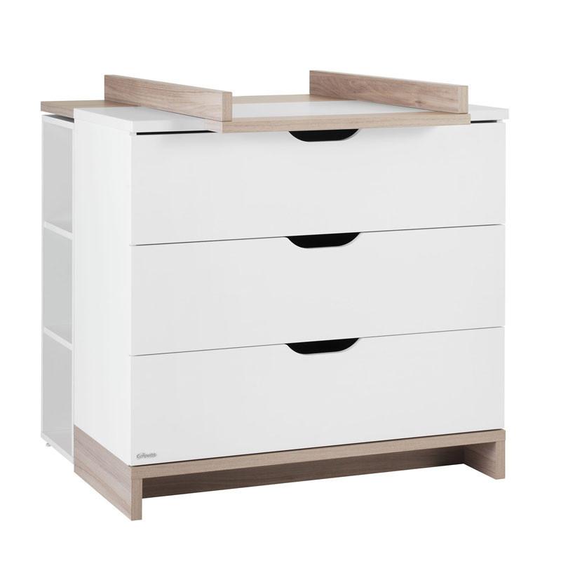 Commode à langer 3 tiroirs Blanc/Bois - KIONO