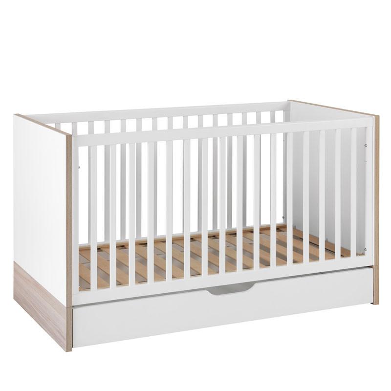 Lit bébé évolutif à tiroir Blanc/Bois - KIONO