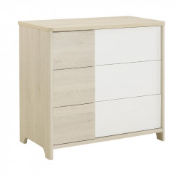 Commode 3 tiroirs Blanc/Pin blanchi - SWEET