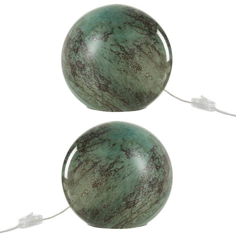 Duo de lampes de chevet Verre vert - KYANITE