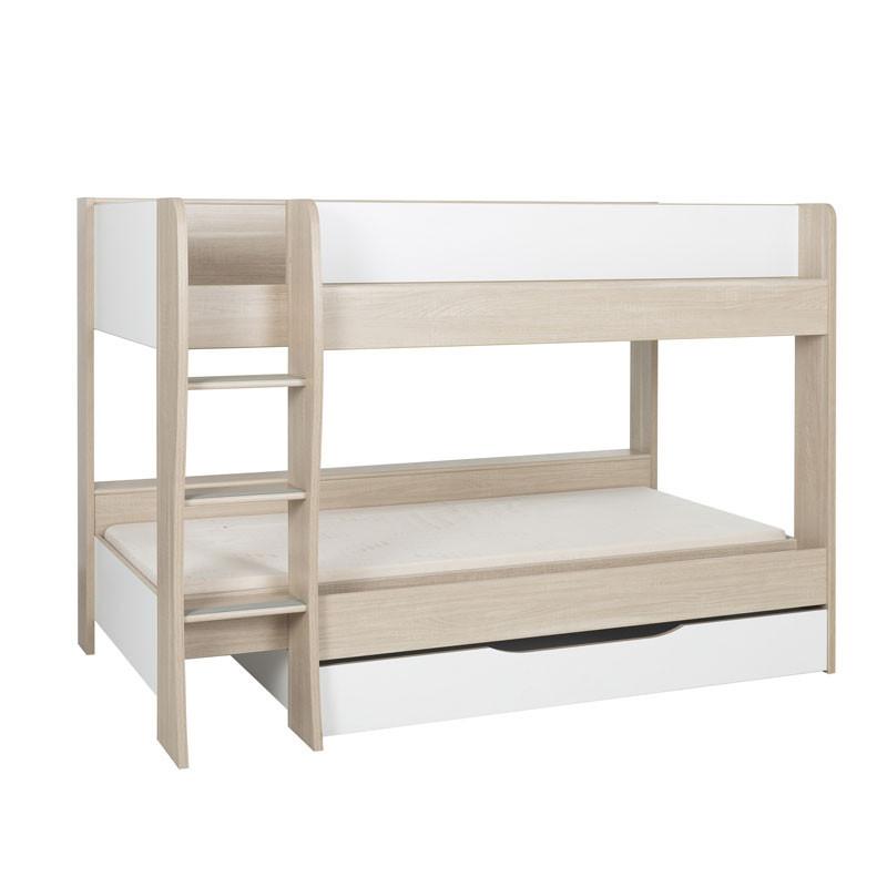 Lit superposé 90*200 cm + tiroir Bois/Blanc - ROSEMIE