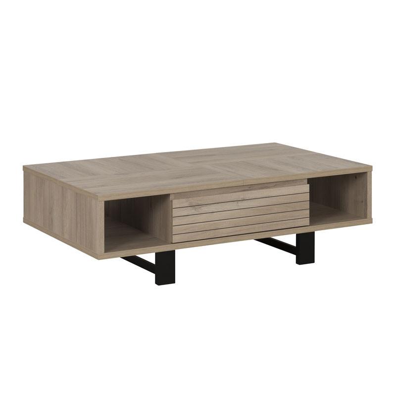 Table basse 1 tiroir Chêne clair/Noir - NINA