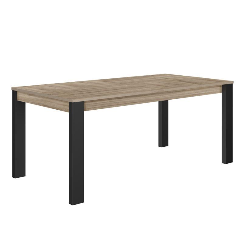 Table de repas à allonge Chêne clair/Noir - NINA