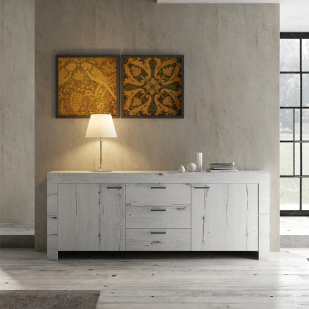 Buffet 2 portes 3 tiroirs Chêne blanchi moderne bois - Univers Salle à Manger : Tousmesmeubles
