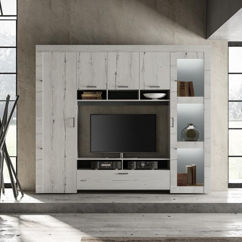 Composition TV 6 portes Chêne blanchi - VERONE